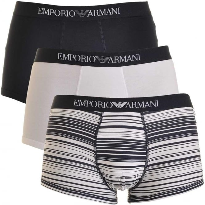 Emporio Armani Coloured Pure Cotton 3-Pack Trunk, Marine / Print / White