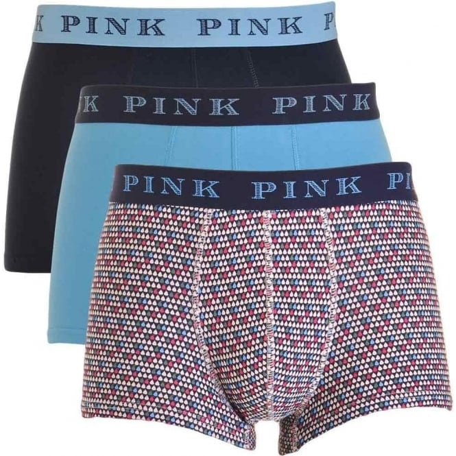 Thomas Pink Cotton Stretch 3 Pack Trunk HAVELOCK, Navy / Print / Blue