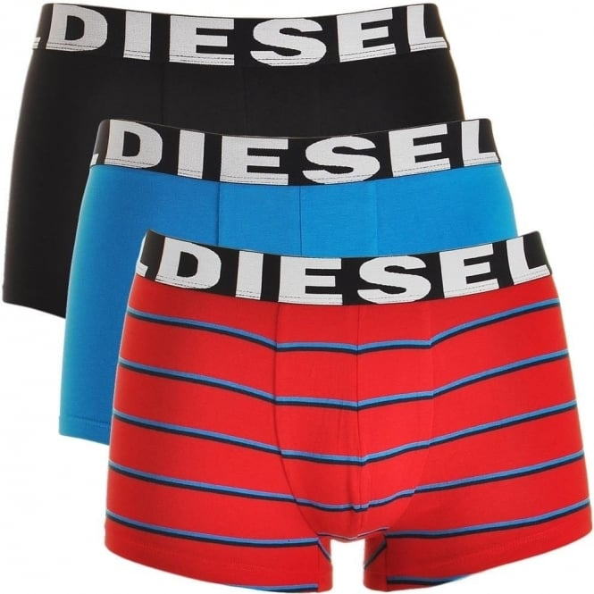 DIESEL 3-Pack Boxer Trunk UMBX-Shawn, Black / Blue / Red Stripe