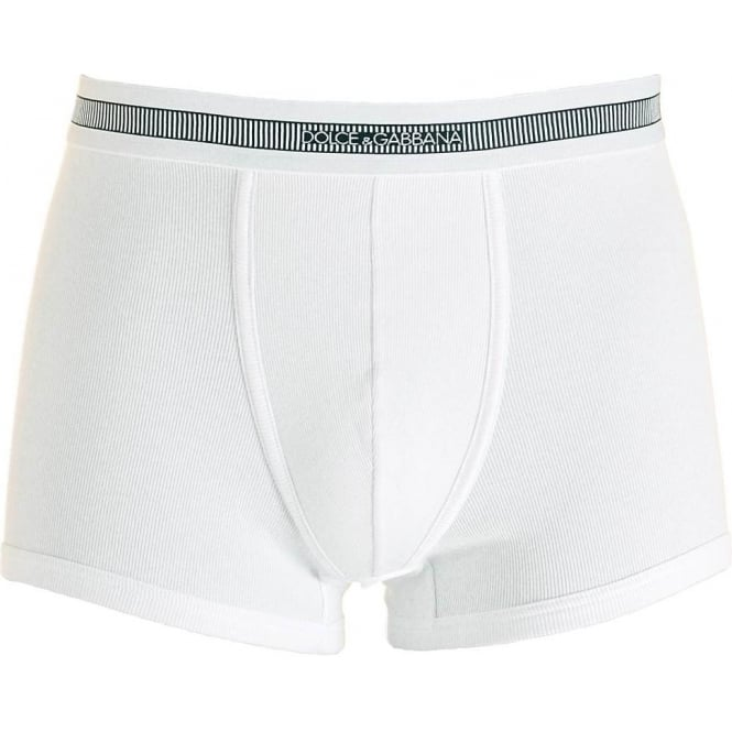 Dolce & Gabbana Stretch Ribbed Cotton Regular Boxer, White