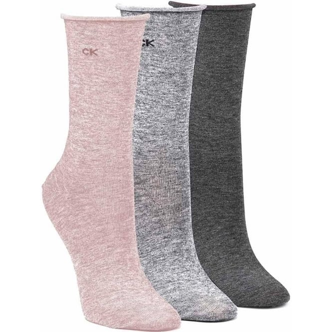 Calvin Klein Women 3 Pack Roll Top Socks, Pink & Grey