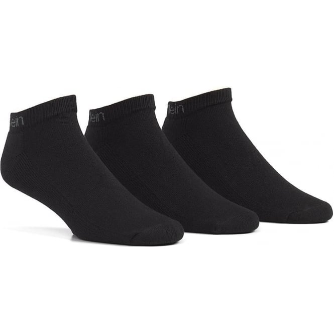 Calvin Klein 3 Pack Bamboo Micro Cushion Liner Socks, Black