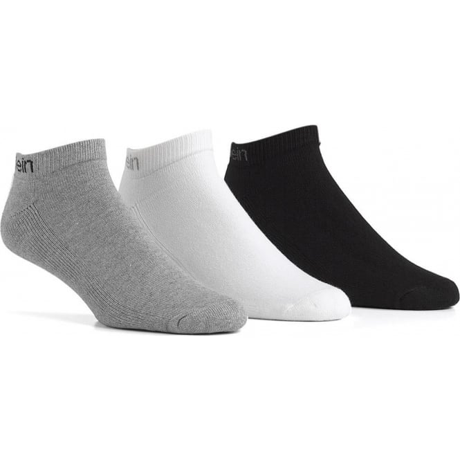Calvin Klein 3 Pack Bamboo Micro Cushion Liner Socks, Black / White / Grey