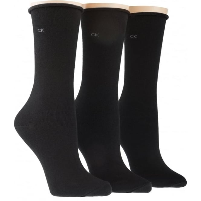 Calvin Klein Women 3 Pack Roll Top Socks, Black