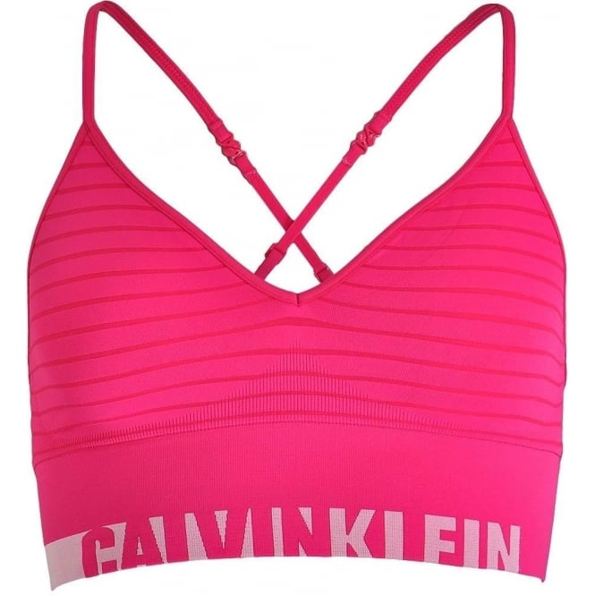 Calvin Klein Women Seamless Logo Bralette, Simple Stripe Transpink