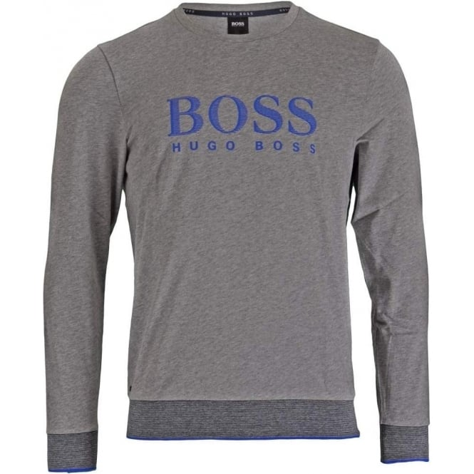HUGO BOSS Long Sleeve Cotton Crew Neck Sweatshirt, Grey
