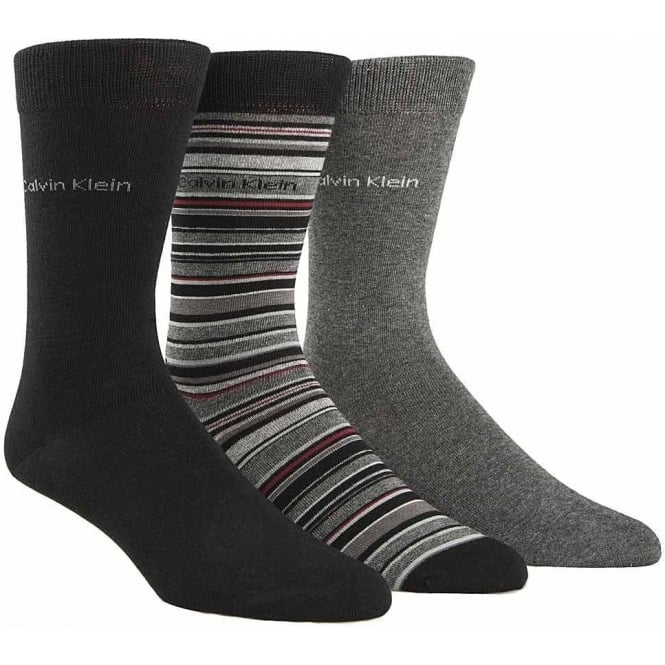 Calvin Klein 3 Pack Multi Stripe Socks Gift Box, Black / Grey / Stripe
