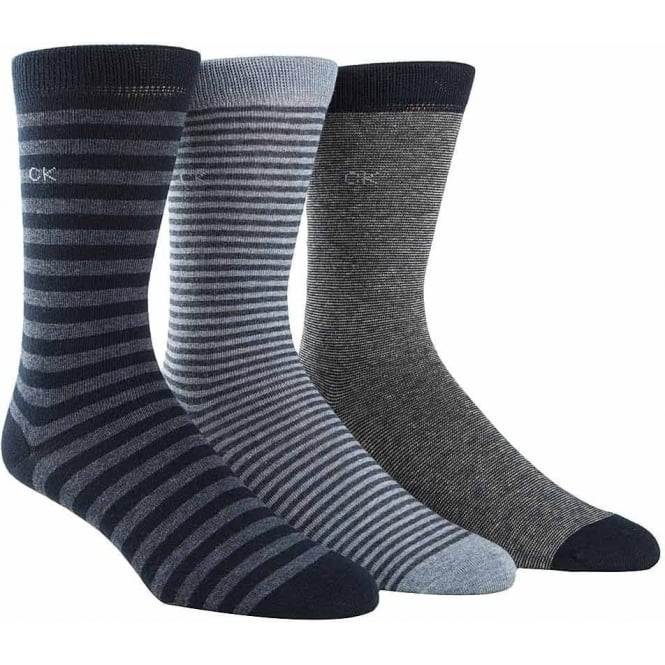 Calvin Klein 3 Pack Multi Stripe Socks Gift Box, Blue Stripe