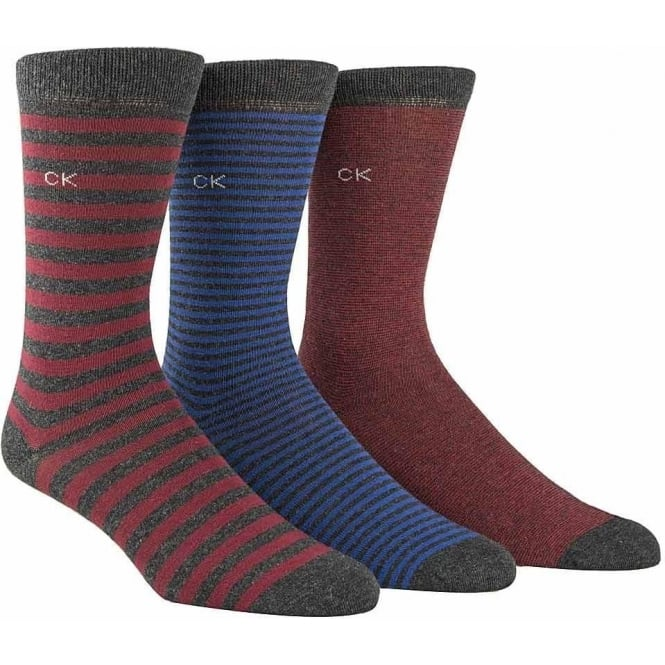 Calvin Klein 3 Pack Multi Stripe Socks Gift Box, Grey Stripe