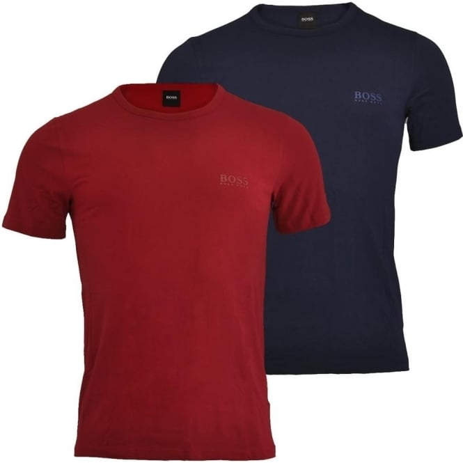 HUGO BOSS 2-Pack Cotton Stretch Crew Neck T-Shirt, Red / Navy