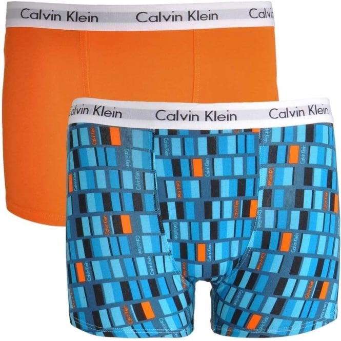 Calvin Klein Boys 2 Pack Modern Cotton Boxer Trunk, Classic Calibrate Horizon Blue / Orange