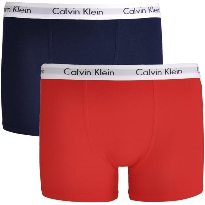 Calvin Klein Boys 2 Pack Modern Cotton Boxer Trunk, Mars Red / Blue Shadow