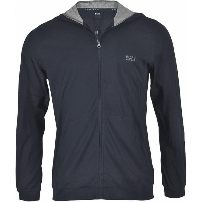 HUGO BOSS Stretch Cotton Zip-through Hooded Jacket, Navy