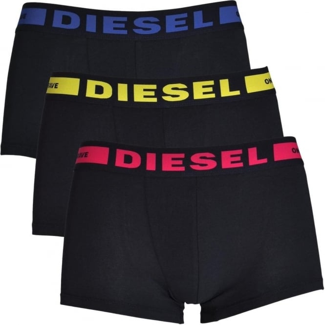 DIESEL 3-Pack Boxer Trunk UMBX-Kory, Black with Yellow / Pink / Blue