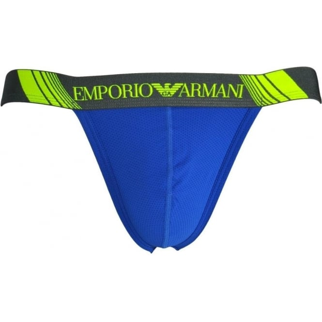 Emporio Armani Training Mesh Microfiber Jockstrap, Electric Blue