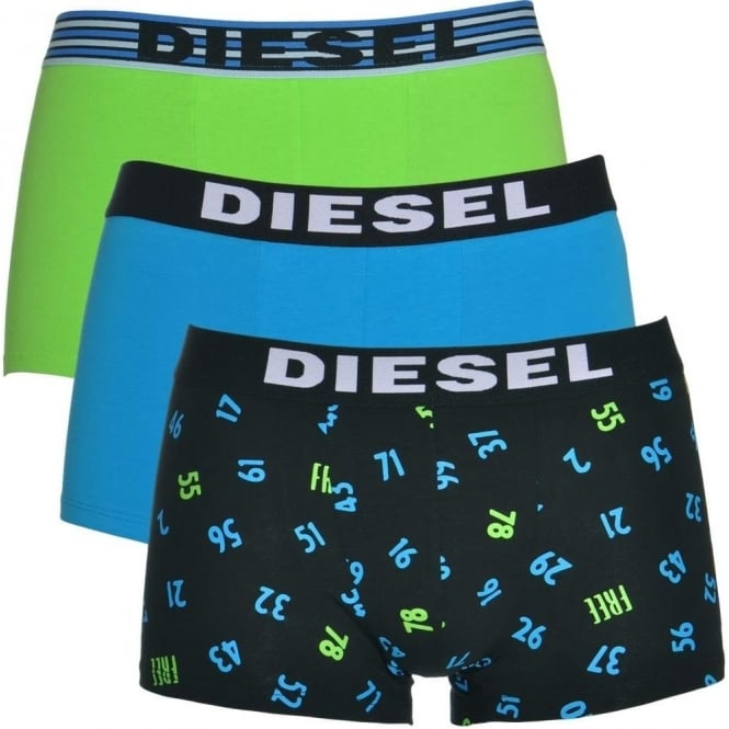 DIESEL 3-Pack Boxer Trunk UMBX-Shawn, Green / Blue / Number print