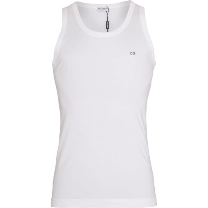 Dolce & Gabbana FUGIA Stretch Cotton Tank Top, White