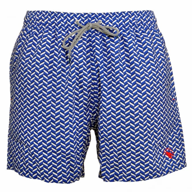 TED BAKER CAVEN Rectangle Geo Swim Shorts, Blue