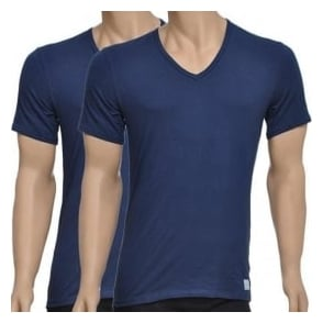 Calvin Klein CK One Short Sleeved V-Neck T-Shirt 2-Pack, Blue Shadow