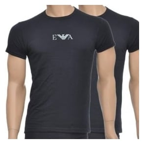 Emporio Armani Stretch BI-Pack Crew Neck T-shirt, Black
