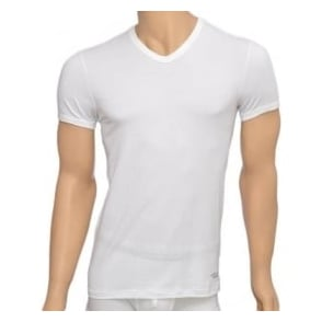 Versace Titan Stretch Cotton V-Neck T-shirt, White