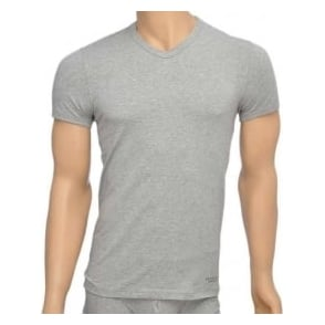 Versace Titan Stretch Cotton V-Neck T-shirt, Grey