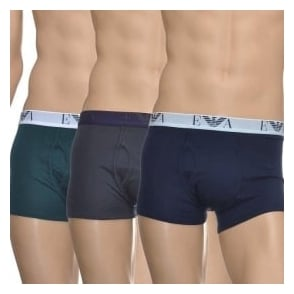 Emporio Armani Genuine Cotton 3-Pack Trunk, Green/Grey/Marine