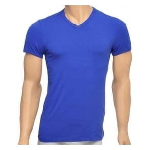 Versace Titan Stretch Cotton V-Neck T-shirt, Royal Blue