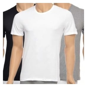 HUGO BOSS 3-Pack Cotton Classic Crew Neck T-Shirt, Black/Grey/White