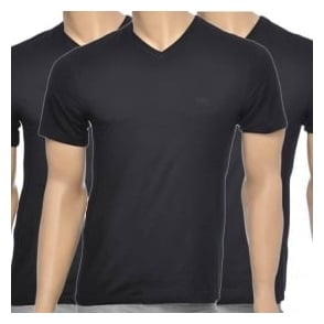 HUGO BOSS 3-Pack Cotton Classic V-Neck T-Shirt, Black
