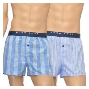 HUGO BOSS Woven Boxer Short 2-Pack, Light Blue