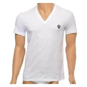 Dolce & Gabbana Sport Crest Deep V-Neck Stretch Cotton T-Shirt, White