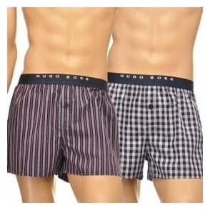 HUGO BOSS Woven Boxer Short 2-Pack, Dark Blue/Grey/Red Stripe & Check