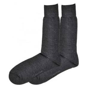 Calvin Klein 2-Pack Fine Rib Wool Socks, Charcoal
