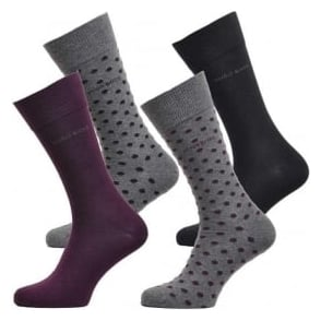 HUGO BOSS 4 Pack Cotton Logo Socks, Black/Purple/Dots