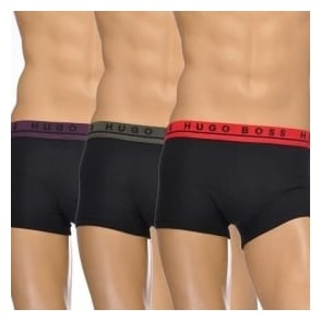 HUGO BOSS Cotton Stretch 3-Pack Boxer Trunk, Grey/Red/Purple