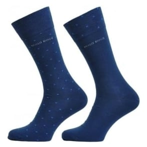 HUGO BOSS 2 Pack Cotton Logo Socks, Navy/Pixel Dot