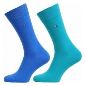 Tommy Hilfiger Classic 2 Pack Cotton Logo Socks, Lake Blue