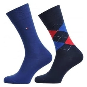 Tommy Hilfiger Check 2 Pack Cotton Logo Socks, Tommy Classic