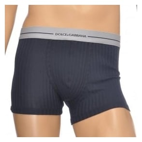 Dolce & Gabbana Stretch Ribbed Cotton Regular Boxer, Dark Blue