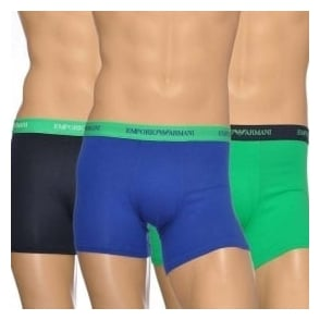 Emporio Armani Fashion Multipack Stretch Cotton 3-Pack Boxer Brief, Marine/Green/Blue