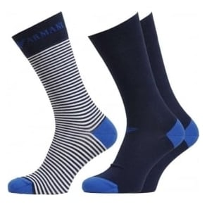 Emporio Armani 3 Pack Stretch Cotton Logo Socks, Blue