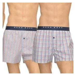 HUGO BOSS Woven Boxer Short 2-Pack, Grey Stripe & Check