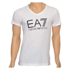 EA7 Emporio Armani Sea World Core Logo V-Neck T-Shirt, White