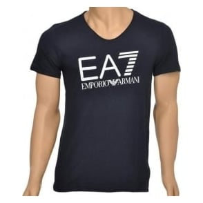 EA7 Emporio Armani Sea World Core Logo V-Neck T-Shirt, Blue