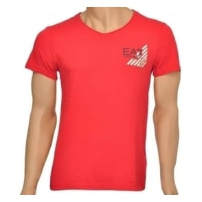 EA7 Emporio Armani Sea World Core Eagle V-Neck T-Shirt, Red