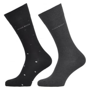 HUGO BOSS 2 Pack Cotton Logo Socks, Black/Charcoal