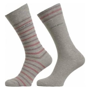 HUGO BOSS 2 Pack Cotton Logo Socks, Light Grey/Stripe