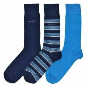 HUGO BOSS 3 Pack Cotton Logo Socks, Navy/Blue/Stripe