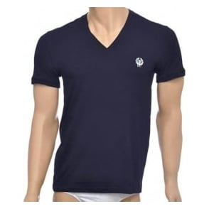 Dolce & Gabbana Sport Crest Deep V-Neck Stretch Cotton T-Shirt, Navy
